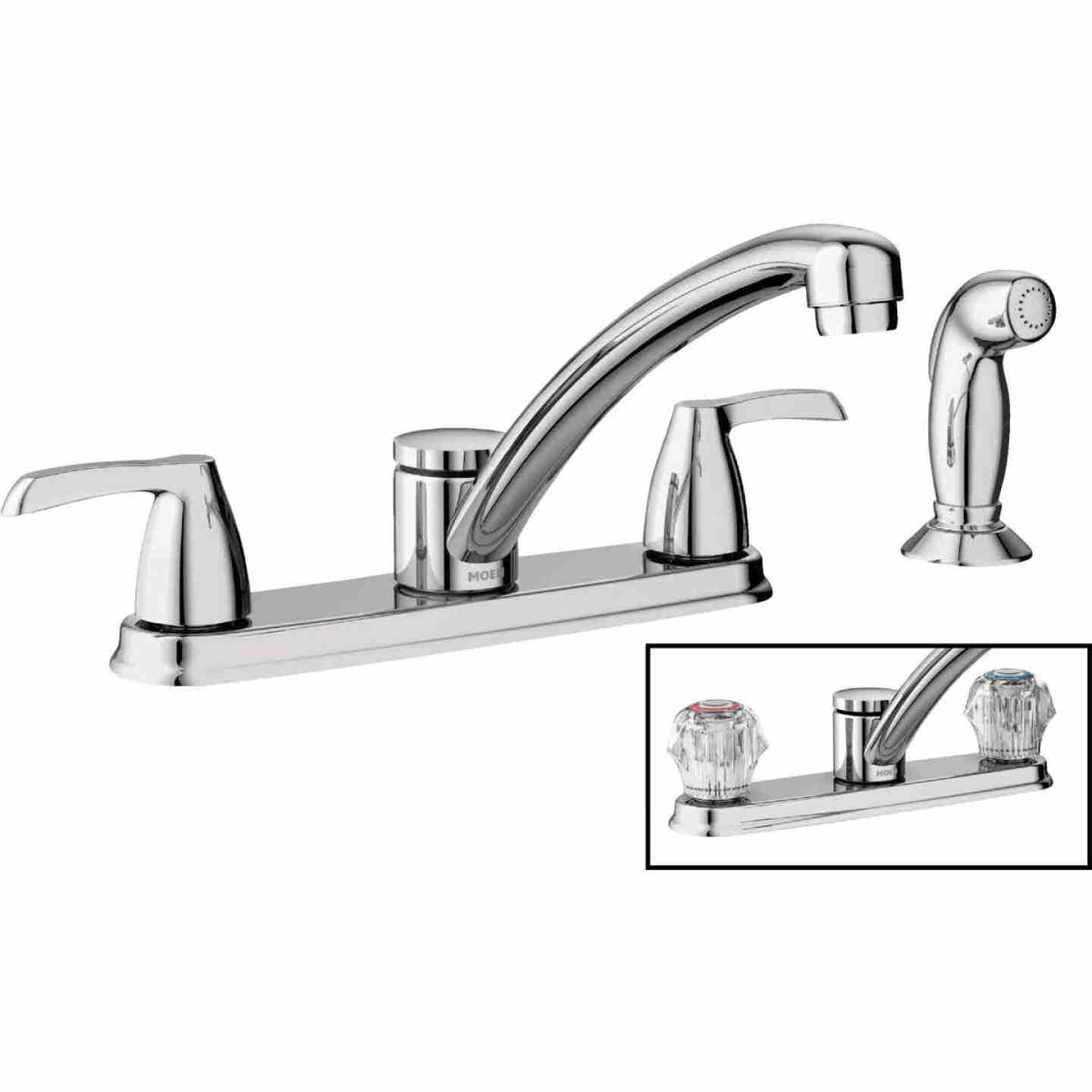Moen Adler Dual Handle Lever Or Knob Kitchen Faucet With Side Spray Chrome Do It Best World S Largest Hardware Store