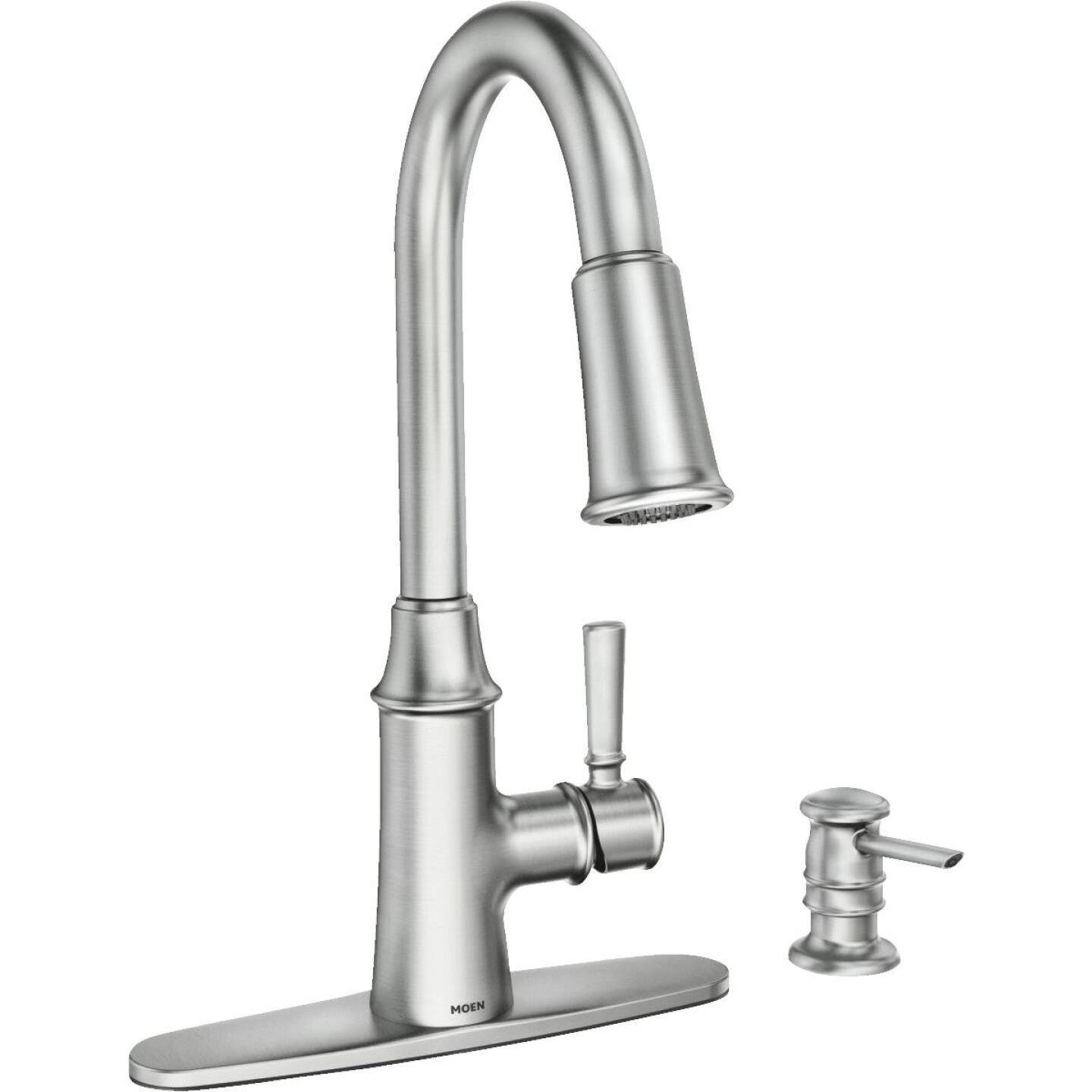 Moen Caris Single Handle Lever Kitchen Faucet with Soap ...