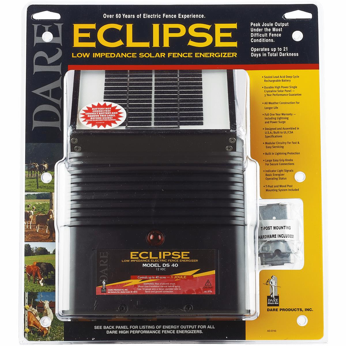 """Dare 6V Eclipse 1/"""" x 9/"""" x 11/"""" Solar Electric Fencer Fence Charger DS 20"""