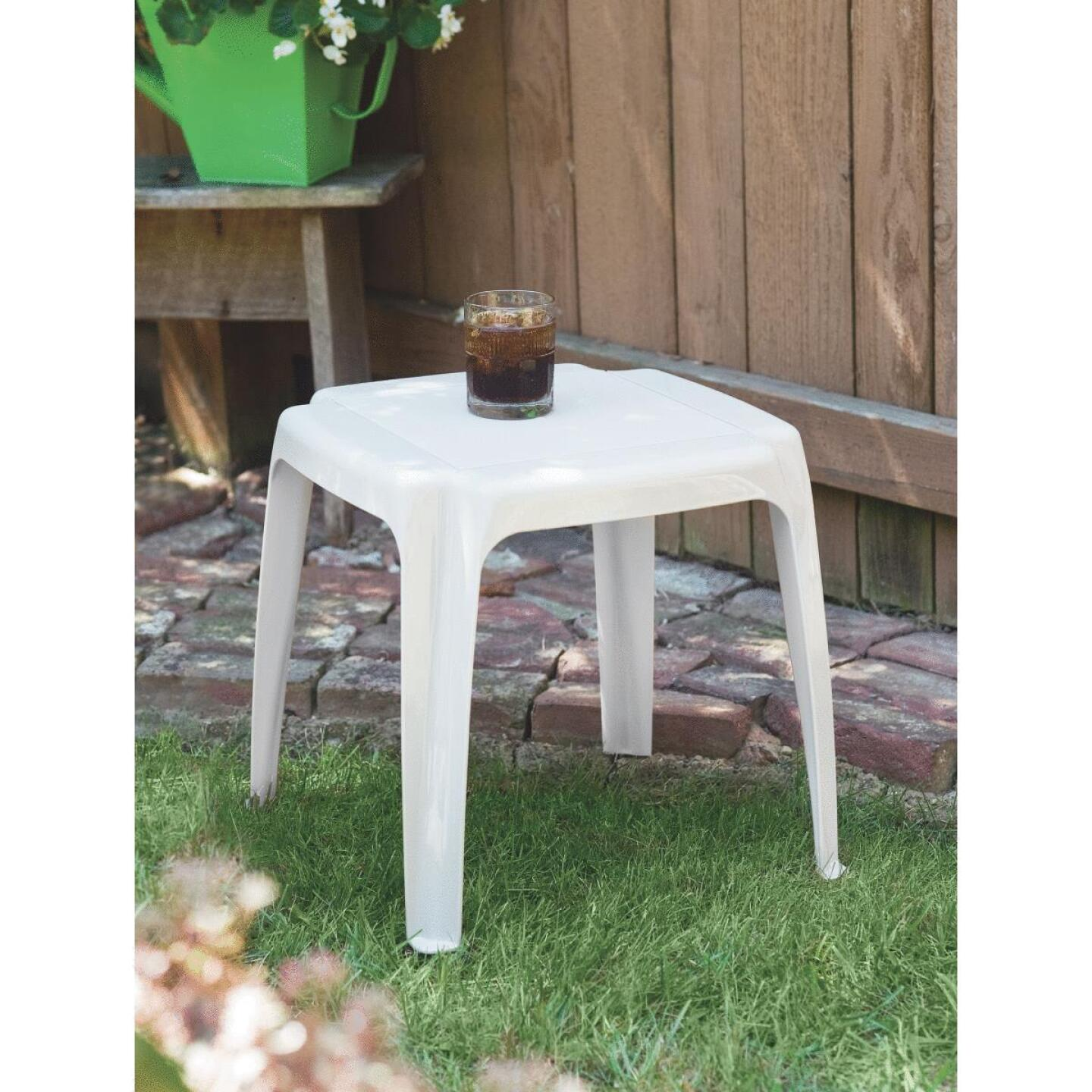 White 16 In Square Resin Side Table