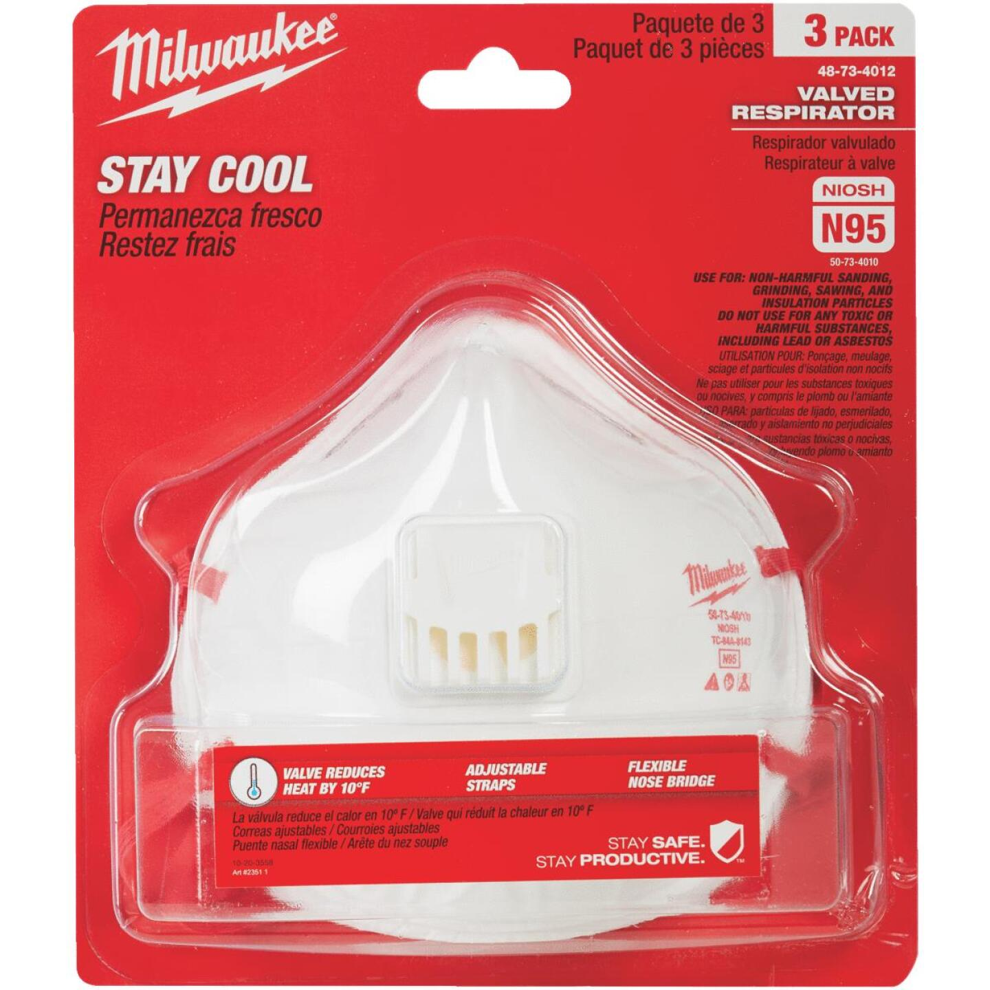 Best - Respirator Disposable 3-pack Milwaukee It Do Valved N95
